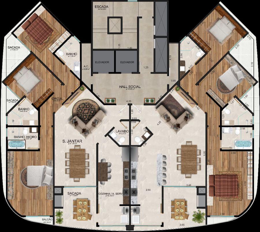 Apartamento tipo 150 m²